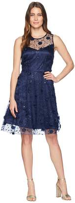 Taylor Embroidered 3D Flower Mesh Cocktail Dress Women's Dress