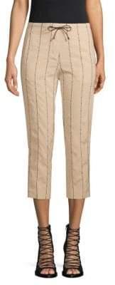 Brunello Cucinelli Silk-Blend Striped Capri Pants