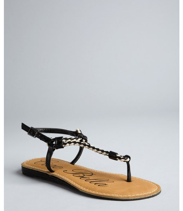 Ciao Bella black leather 'Tonia' woven thong sandals