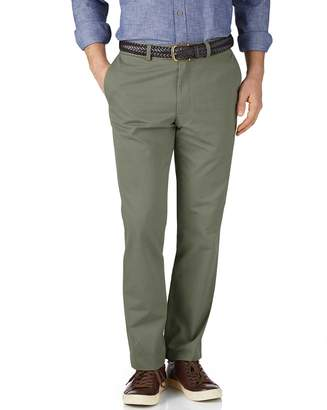 Charles Tyrwhitt Light Green Slim Fit Flat Front Cotton Chino Pants Size W34 L34