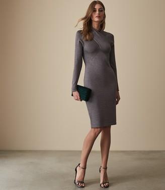 Reiss Alethia Metallic Twist Neck Knitted Dress