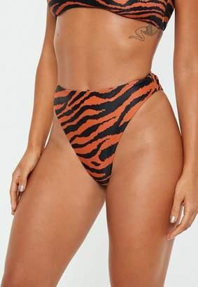 Missguided Orange Tiger High Waist High Leg Briefs