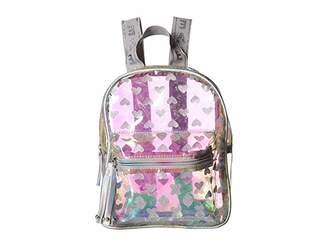 clear OMG! Accessories Metallic Mini Backpack with Glitter Hearts