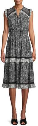 Kate Spade Plains Ditsy Dress W/ Tiered Skirt