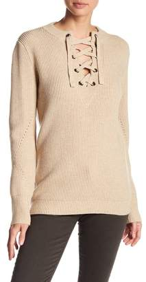 Love Token Lace-Up Knit Long Sleeve Top