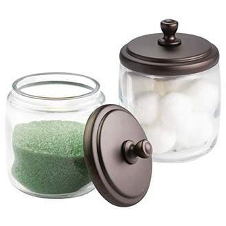 mDesign Bathroom Vanity Glass Storage Organizer Canister Apothecary Jars for Cotton Swabs