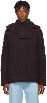 Raf Simons Purple Virgin Wool Aran Knit Sweater