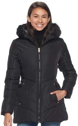 Juniors' Pink Envelope Faux-Fur Hood Puffer Jacket