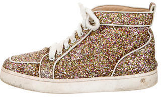 Christian Louboutin Glitter High-Top Sneakers $640 thestylecure.com