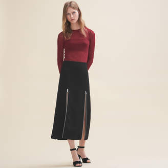 Maje Long crepe skirt