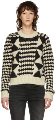 Saint Laurent Black and White Wool and Alpaca Sweater