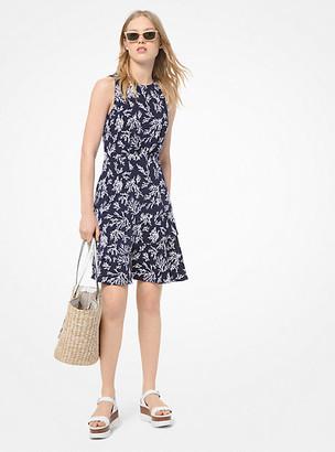 Michael Kors Reef-Print Asymmetrical Flounce Dress