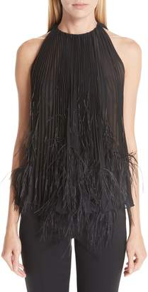 Oscar de la Renta Pleated Feather Detail Blouse