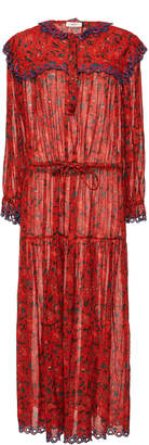 Etoile Isabel Marant Eina Ruffled Floral-Print Cotton-Voile Maxi Dress