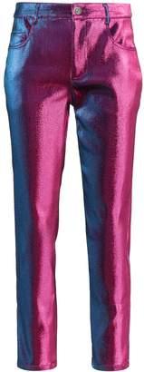 Area metallic straight-leg trousers