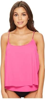 MICHAEL Michael Kors Safari Solids Layed Tankini Top w/ Chain Detail Removable Soft Cups Women's Swimwear