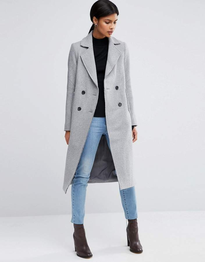 Asos ASOS Wool Blend Coat with Raw Edges and Pocket Detail