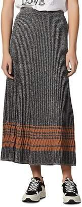 Sandro Sloane Metallic Ribbed Maxi Skirt
