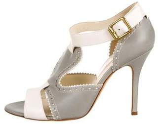 Rupert Sanderson BiColor Peep-Toe Sandals