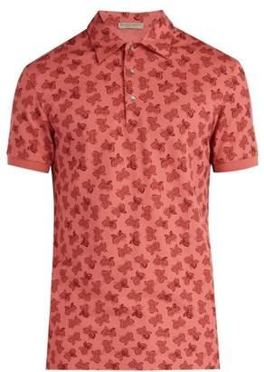 Bottega Veneta Butterfly Print Polo Shirt - Mens - Light Pink