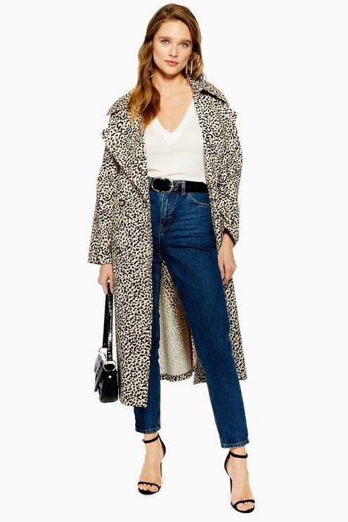 Leopard Print Trench Coat