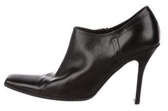Prada Leather Square-Toe Booties