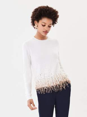 Oscar de la Renta Sequin Fringe Embroidered Wool Pullover