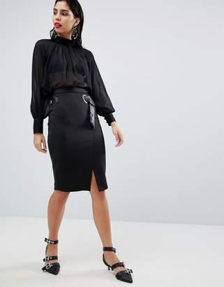 Sisley Belt Detail Pencil Skirt