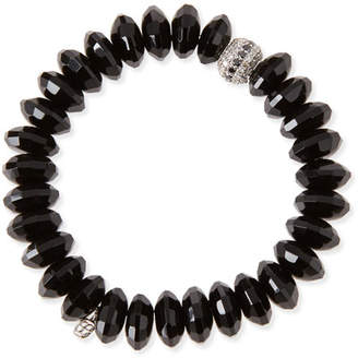 Sydney Evan 12mm Faceted Black Agate Beaded Bracelet w/ 14k White Gold Diamond Disc