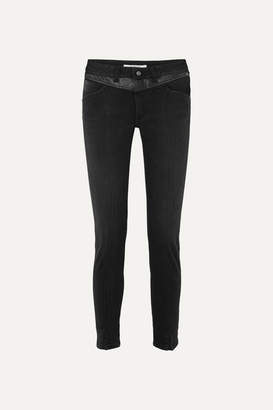 Givenchy Leather-trimmed Mid-rise Straight-leg Jeans - Black