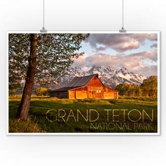 Grand Teton National Park, Wyoming - Barn & Tree - Lantern Press Photography (9x12 Art Print, Wall Decor Travel Poster)