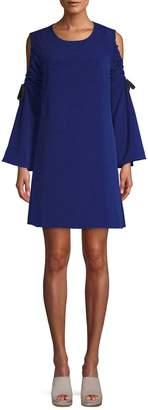 Rachel Roy Women's Cold Shoulder Tie Sleeve Shift Dress