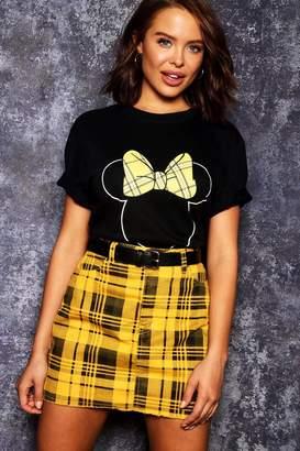 boohoo Disney Minnie Tartan Bow Tee