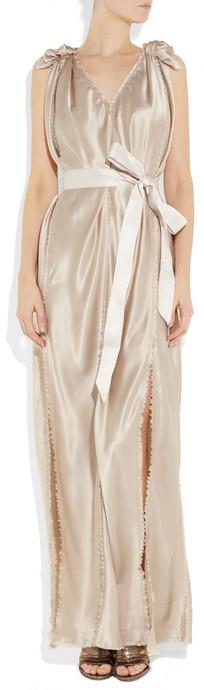 Lanvin Belted silk-satin gown