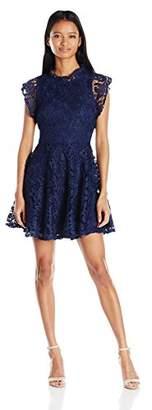My Michelle Junior's Flutter Sleeve Crochet Lace Skater Dress