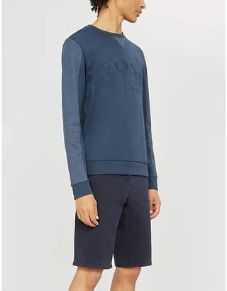 BOSS Logo-embroidered cotton-jersey sweatshirt
