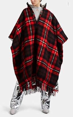 Marine Serre Women's Plaid Wool Flannel Hooded Coat - Red