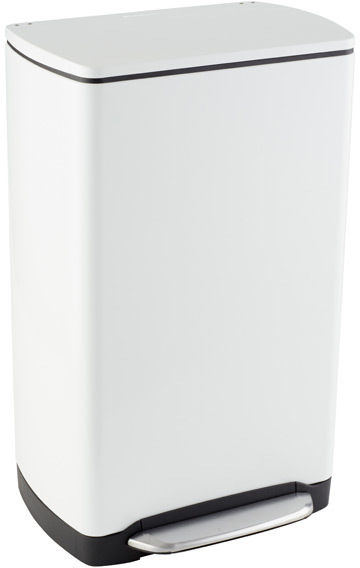 Container Store 10 gal. Wide-Step Rectangular Can White