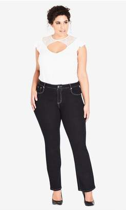 City Chic Cc Bootleg Short Black Jean