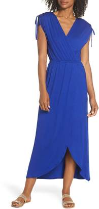 Fraiche by J Tie Shoulder Faux Wrap Maxi Dress