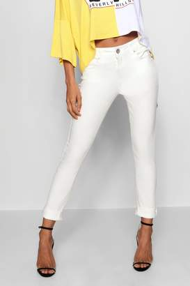 boohoo White Mid Rose Skinny Jeans