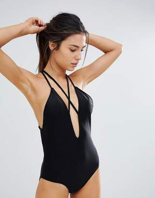 UNIQUE21 Unique 21 Plunge Front Swimsuit With Strapping