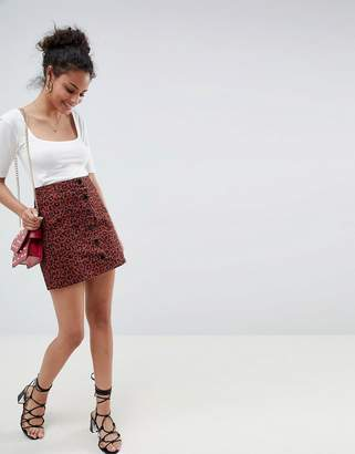 Miss Selfridge a-line skirt with button front in leopard print