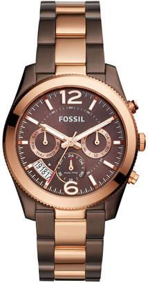 Fossil Women's Perfect Boyfriend Brown & Rose Gold-Tone Stainless Steel Bracelet Watch 39mm