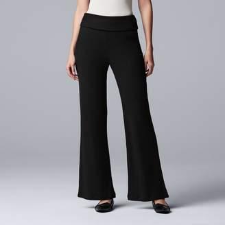 Vera Wang Women's Simply Vera Fold-Over Wide-Leg Pants