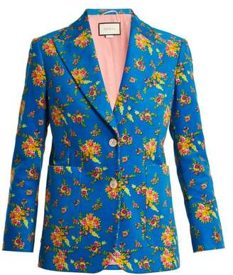 Gucci Single Breasted Floral Print Corduroy Jacket - Womens - Blue Print