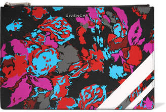 Givenchy Floral-print Faux Textured-leather Pouch - Pink