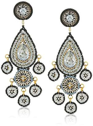 Miguel Ases Teardrop Smoky Swarovski Post Chandelier Drop Earrings
