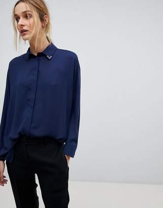 Asos DESIGN Longline Blouse with Collar Tip Detail