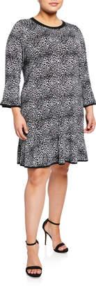 MICHAEL Michael Kors 3/4-Sleeve Flounce Dress, Plus Size
